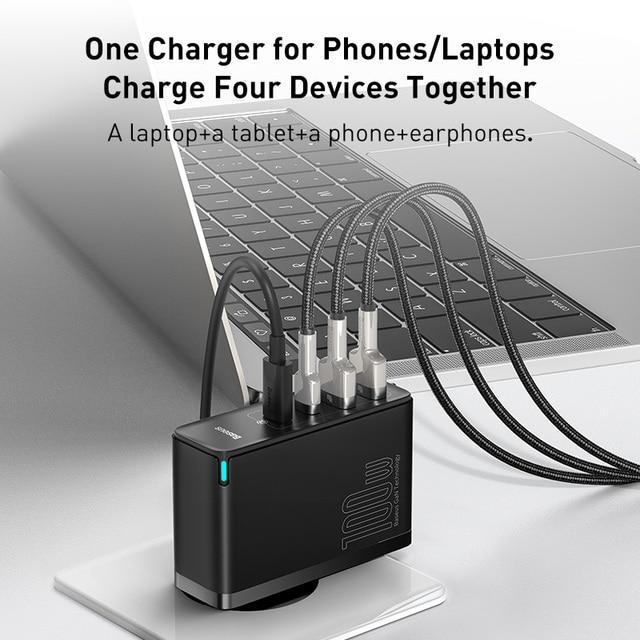 Baseus 100 W USB Schnellladegerät GaN PD 4