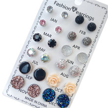 12 pares/set brincos de cristal moda conjunto feminino jóias acessórios piercing bola parafuso prisioneiro brinco kit bijouteria brincos novo 2021