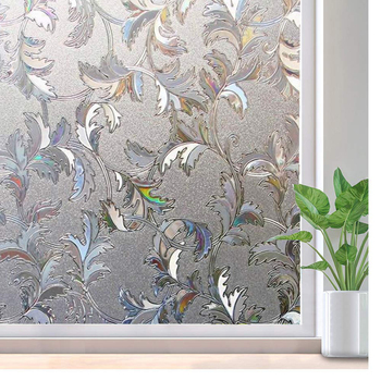 LUCKYYJ,Privacy Stained decorative Window Film,Static Cling Glass Door Film, Static Self adhesive Decals for Home Offic