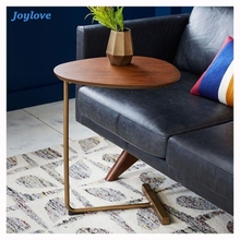 Простой современный боковой столик JOYLOVE, железный арт, угловой стол для дивана, прикроватный столик для ленивых, для чтения, овальный журнал...