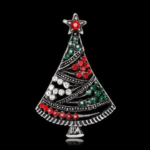 Luxury Christmas Brooches Women Christmas Tree Brooch Pin Multicolor Rhinestone Jewelry Fashion Cute Party Xmas Gift Accessories