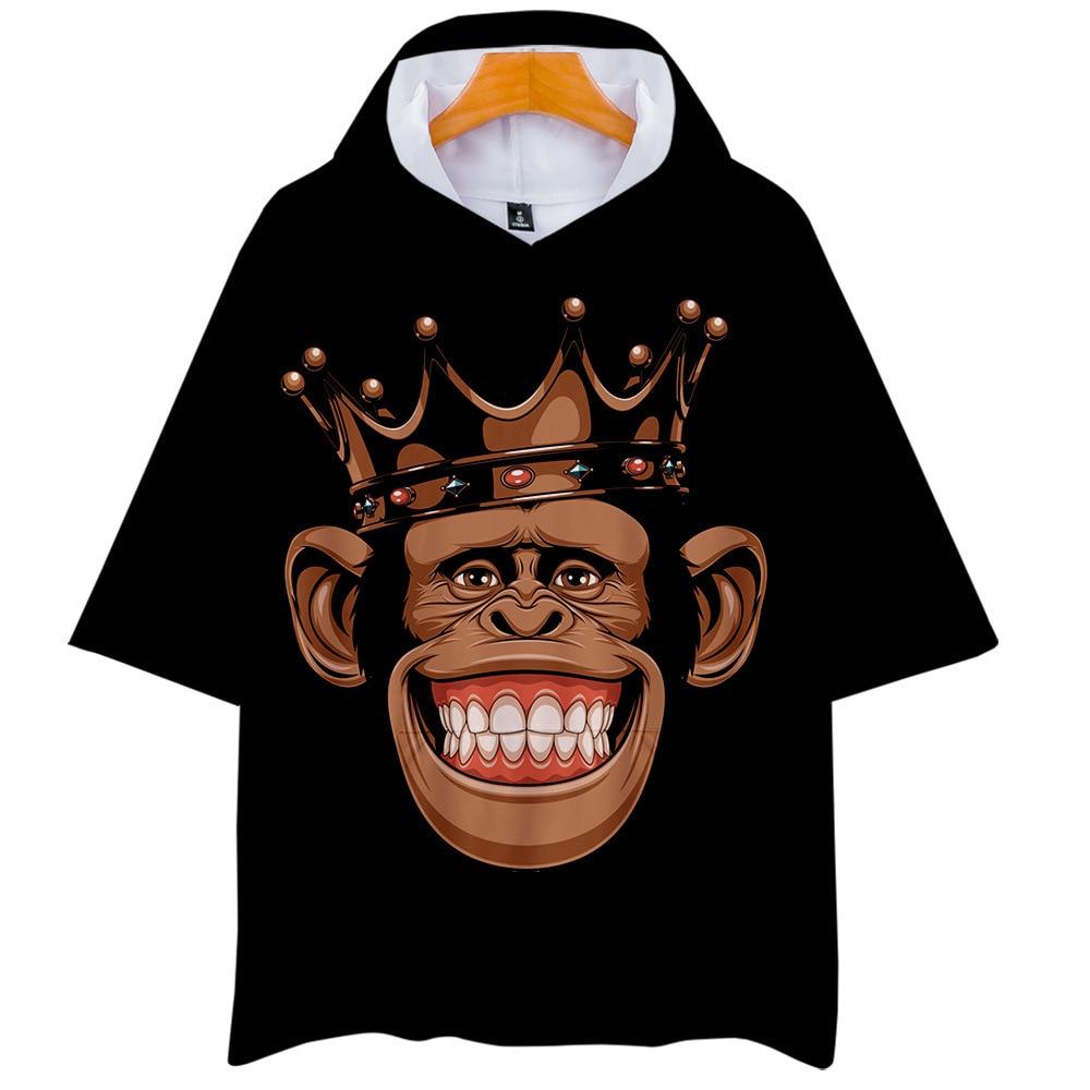 3D Gorilla Monkey Lion Funny Printed Tee Cotton Mens T-Shirts Short Sleeve Top