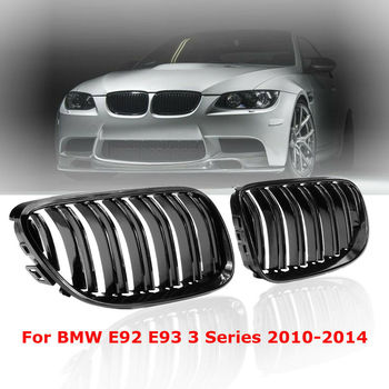 For BMW E92 E93 328i 335i 2010 2011 2012 2013 2014 Front Racing Grilles 2X  Glossy Black Front Kidney Grill Grilles Dual Lines