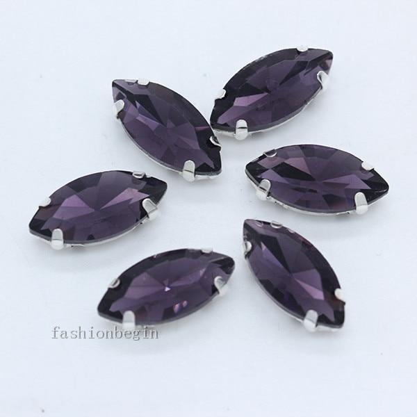 Всех размеров Наветт 24-цветное стекло камень с плоской задней частью, пришить с украшением в виде кристаллов Стразы драгоценные камни бисер с серебряной нитью, бледно-коготь кнопки для одежды аксессуары - Цвет: violet