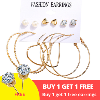 Women Bohemian Earrings Set Big Earrings Jewelry Women Jewelry Metal Color: Bundle 1