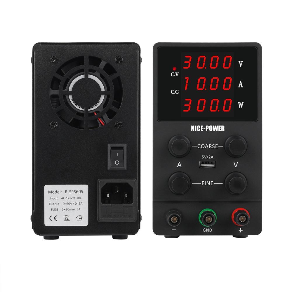 4Digits Switch Lab DC Power Supply Adjustable Digital Display Laboratory Power Source 60V 5A 30V 10A 0.001A 0.01V 0.001W 120V 3A-2