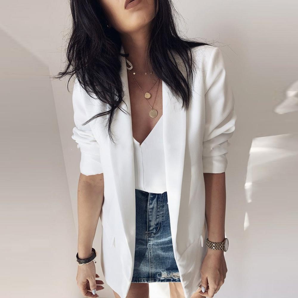 Women White Blazer Long Sleeve Office