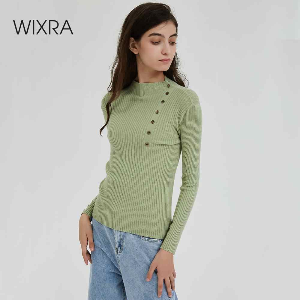 Wixra Women Sweater 2019 Avocado Female Basic Turtleneck Slim Warm Ladies Knitted Sweaters Pull Jumpers Autumn Spring