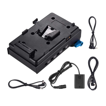 V Mount V-Lock Battery Plate Adapter with 15Mm Dual Hole Rod Clamp Np-Fw50 Dummy Battery Adapter for Bmcc Bmpcc Sony A7 A7S A7R