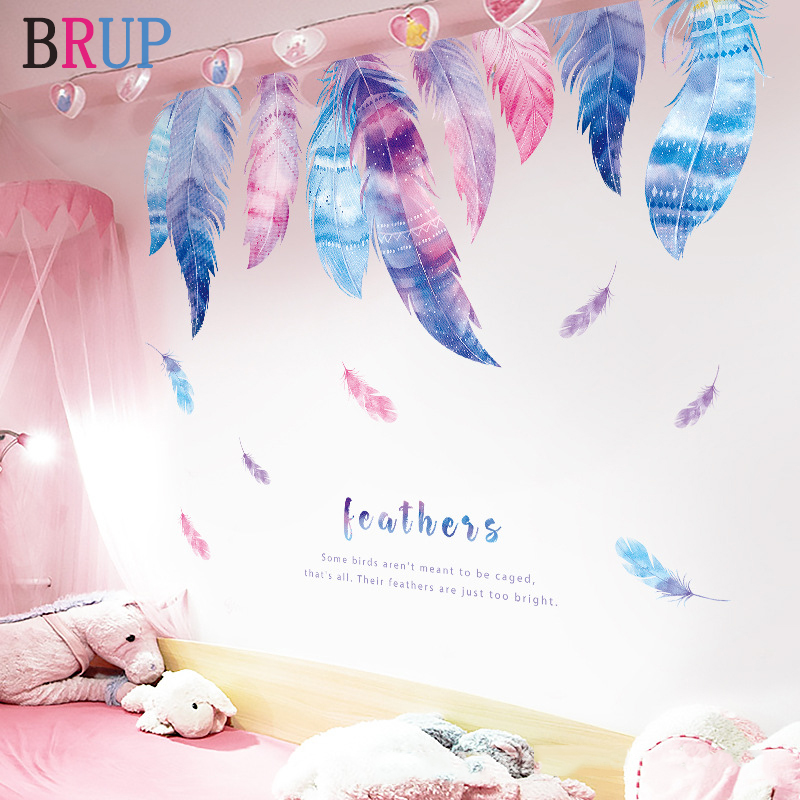 Romantic Feather House Decoration Colorful Plumage Wall Stickers for Kids Room Fashion Home Decor Art PVC Vinyl Wall Decals