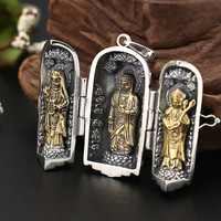 Real 925 Sterling Silver Color Buddha Statue Pendant Thai silver The Three Bodhisattva Good Luck Pendant Fine Jewelry 2019 Gifts