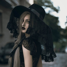 Nuevo gótico oscuro sombrero de velo de Encaje Vintage sombreros de sombrilla de fiesta mujeres onduladas ala ancha gorras de lana noche Club Cosplay