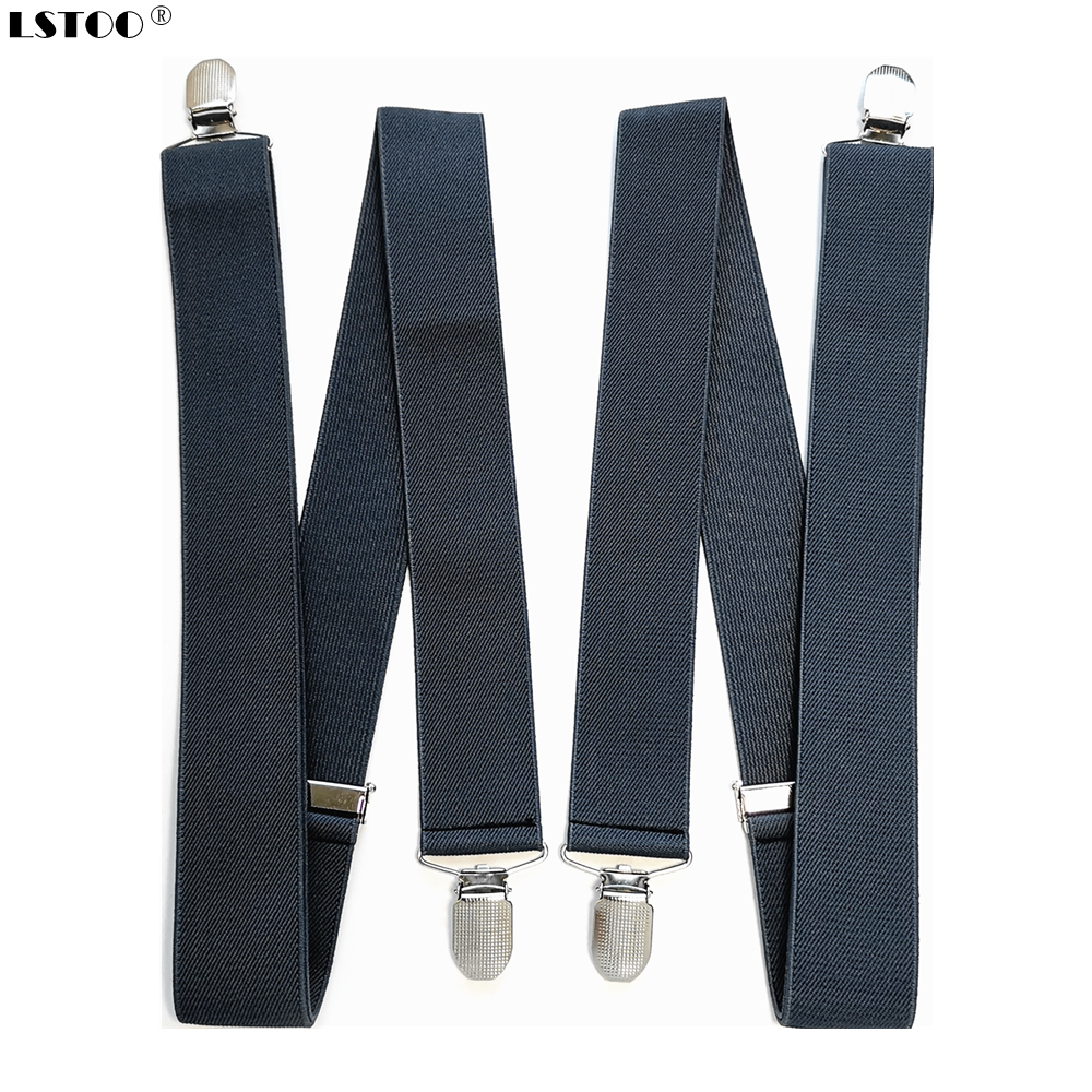 3.5cm Width Solid Colors No Cross Suspenders Men's 4 Strong Clips On Suspender For Wedding Party