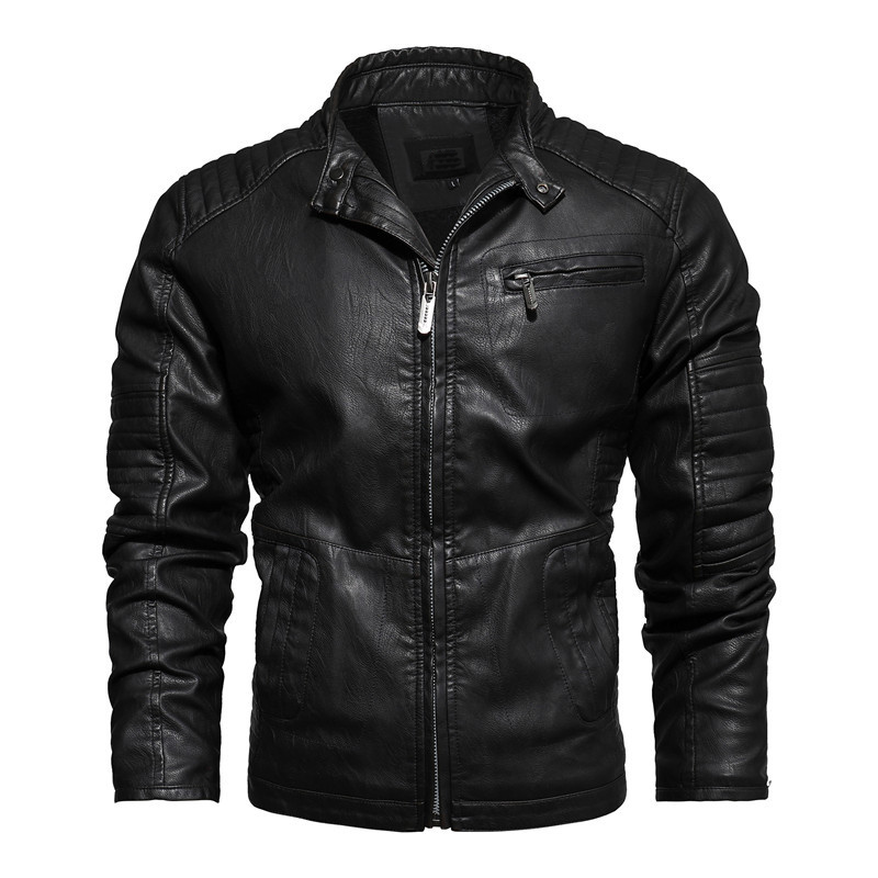 New Jacket Men Motorcycle Jackets Autumn Casual Biker PU Leather Coats Slim Fit Mens Brand Clothing J6T827