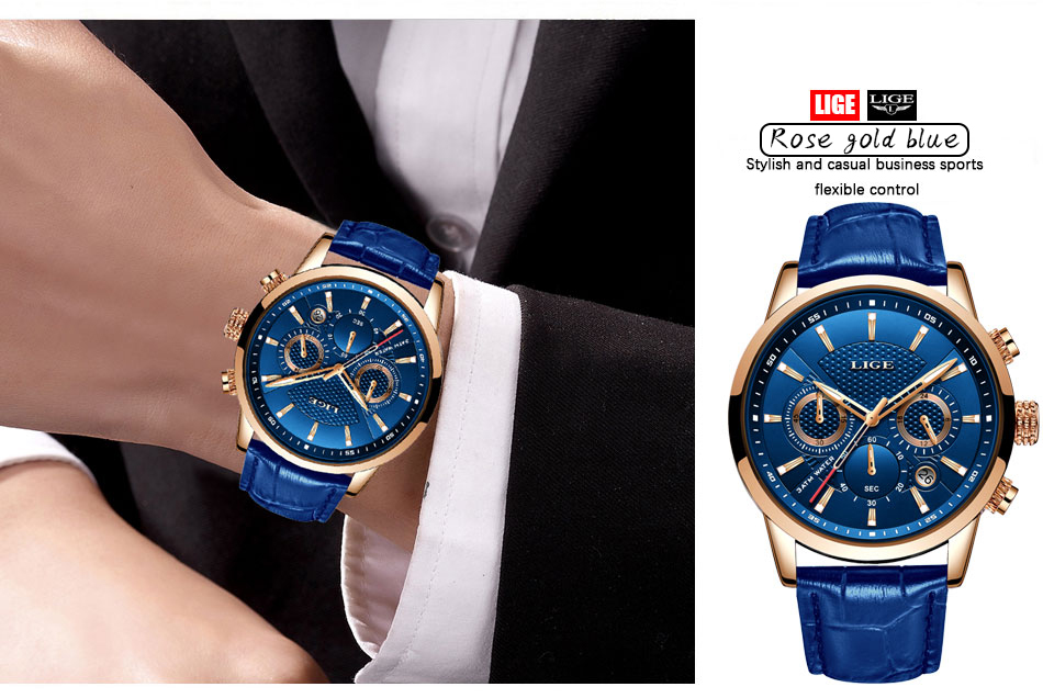 H64defdda906d4932b53e09114bf67da1P LIGE Fashion Mens Watches Top Brand Luuxury Blue Quartz Clock Male Casual Leather Waterproof Sport Chronograph Relogio Masculino