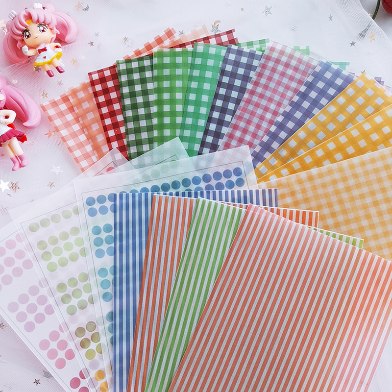 12pcs Vintage Color Grid Dot Basic Vellum Paper Pattern Pack For Scrapbooking Happy Planner Card Making Junk Journal Project