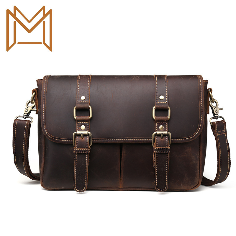 Genuine Leather Cowhide Male Layer Crazy Horsehide Hand Bill Lading Shoulder Package Leisure Time Briefcase Business
