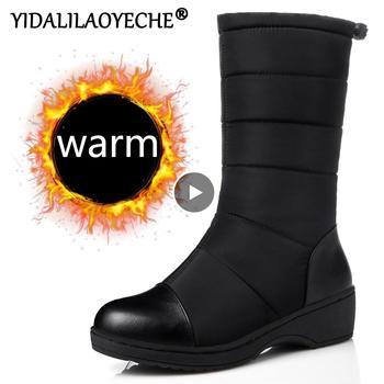 Śniegowce damskie zimowe wodoodporne ciepłe buty na platformie damskie buty klinowe z długość do łydki buty zimowe buty z futerkiem dla kobiet tanie i dobre opinie YIDALILAOYECHE Połowy łydki Szycia Stałe HX-76 Dla dorosłych Kliny Buty śniegu Pluszowe Mikrofibra Okrągły nosek