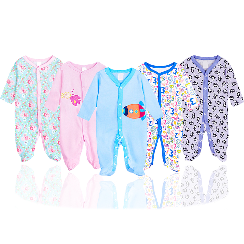 Random 3Pcs/lot 0-12 Months Long-Sleeved Newborn Baby Jumpsuits Unisex Infant Footies Baby Boys Girls Jumpsuits Toddler Clothing