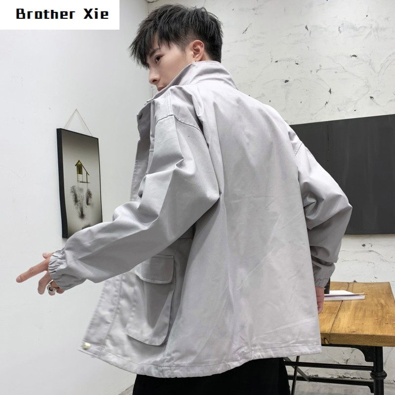 Autumn Jacket Men's Fashion Letters Print Casual Multi Pocket Workwear Jacket Man Streetwear Hip Hop Loose Bomber Jacket Men
