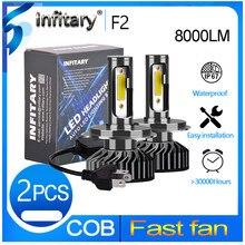 Infitary 2 pçs h7 led h1 h11 9005 9006 h4 led farol do carro 72w 8000lm auto farol lâmpada luzes de nevoeiro branco 6500k 12v lâmpada