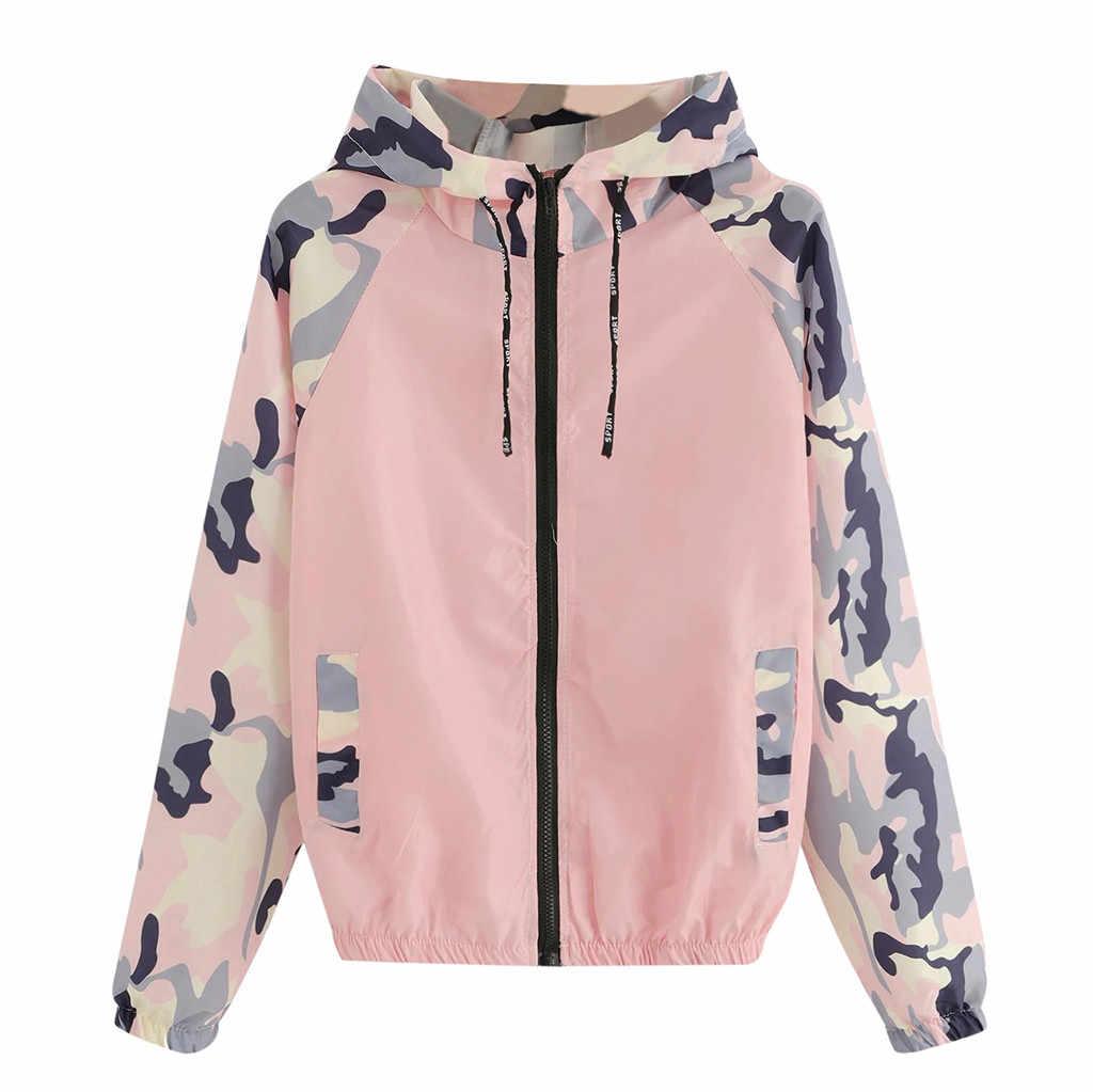 Frauen Zipper Tasche Jacke Langarm Patchwork Mit Kapuze Casual Sport Mantel Oberbekleidung Jacke Frauen Chaqueta Mujer Casaco Feminino