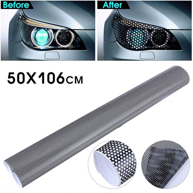 Film perforé pour teinte fenêtre de voiture, 50cm x 106cm, 1 rouleau, Film autocollant ressemblant à des yeux de mouche, pour lampe de voiture, stylistique