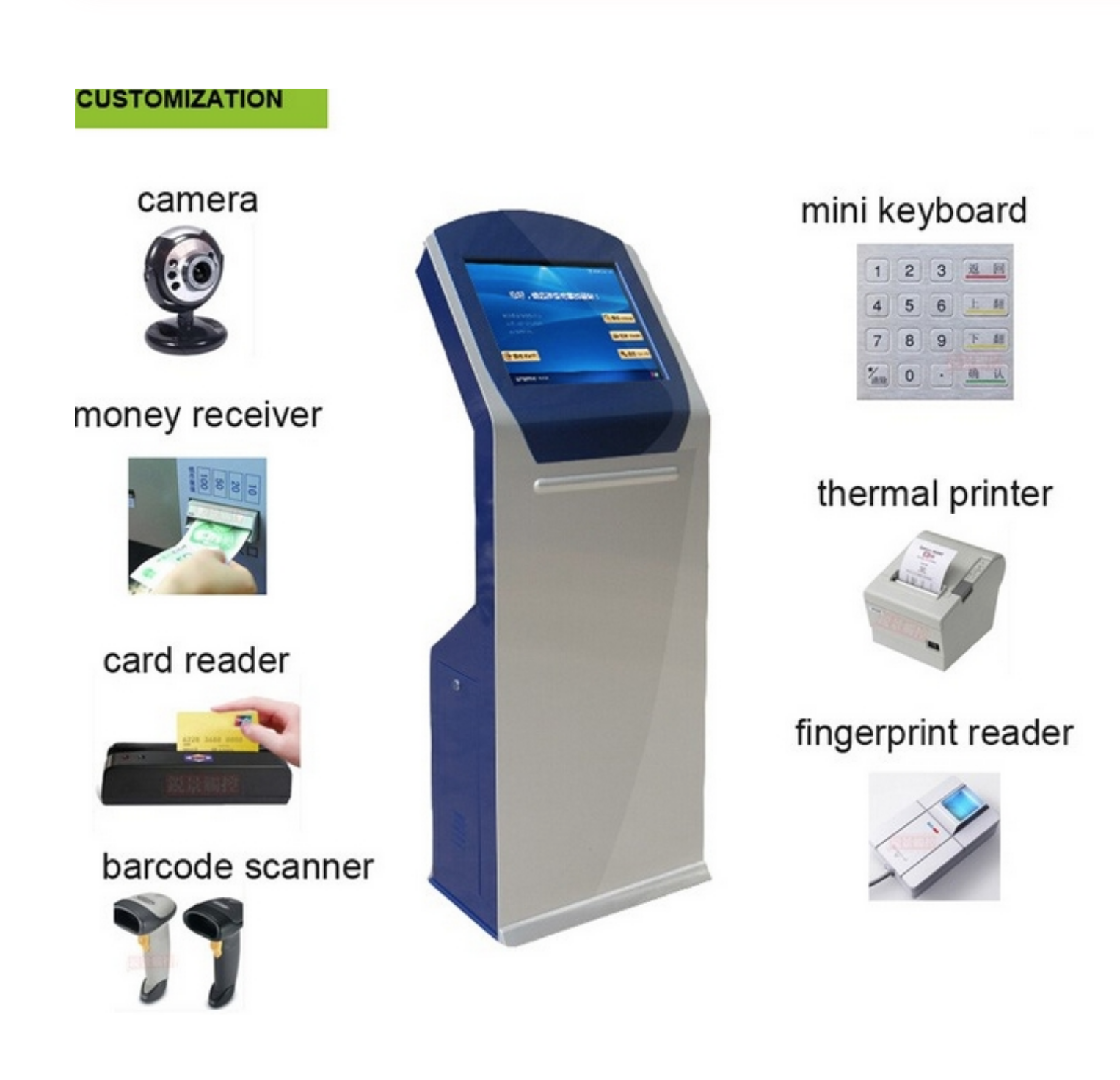 19 Inch All In One Touch Screen Kiosk Android Self Service Ticket Dispenser Queue Management Kiosk
