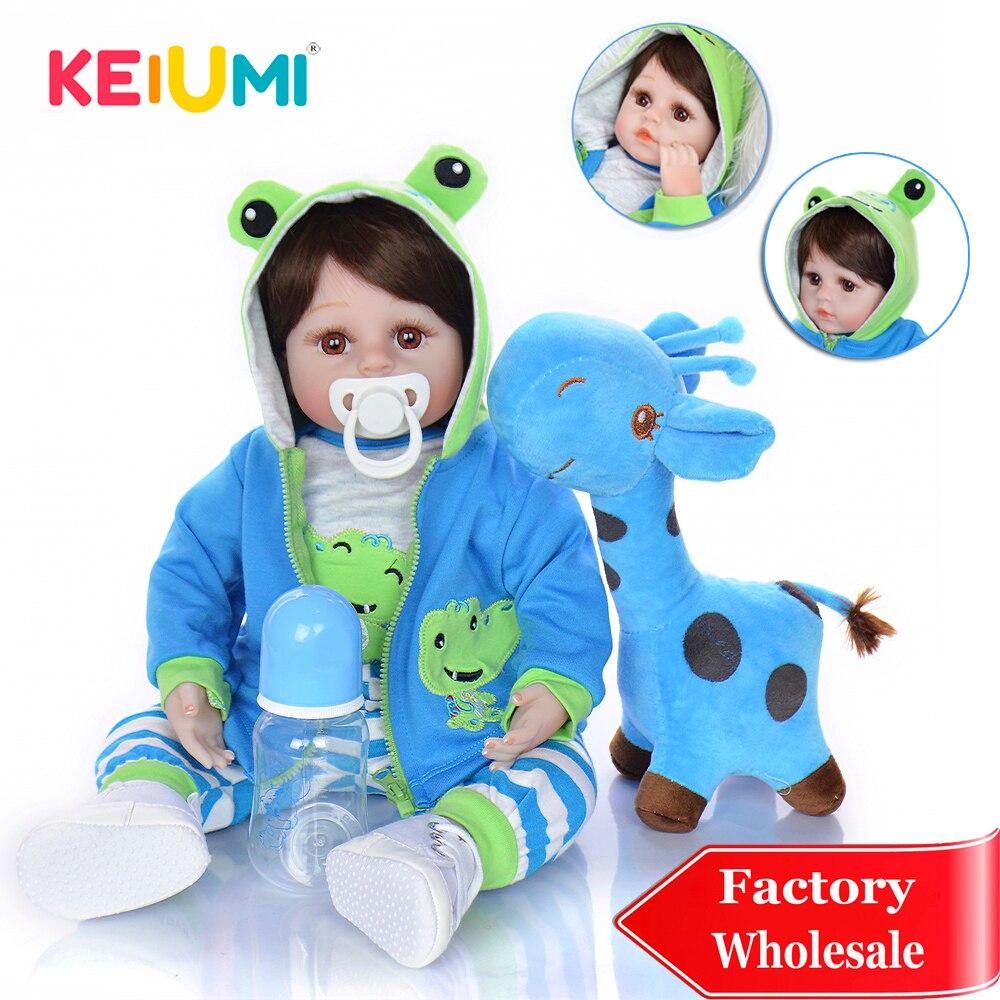 KEIUMI HOT 18 Inch Reborn Baby Doll Soft Silicone Body 48 Cm Alive Reborn Boneca Collectible Little Man For Boy Kids Playmates