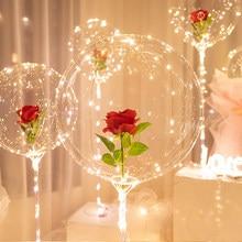 5 Pcs 20inch Transparent Bobo Ballon LED Luminous Rose Balloon Valentine's Day Wedding Birthday Party Decoration Bubble Balloons