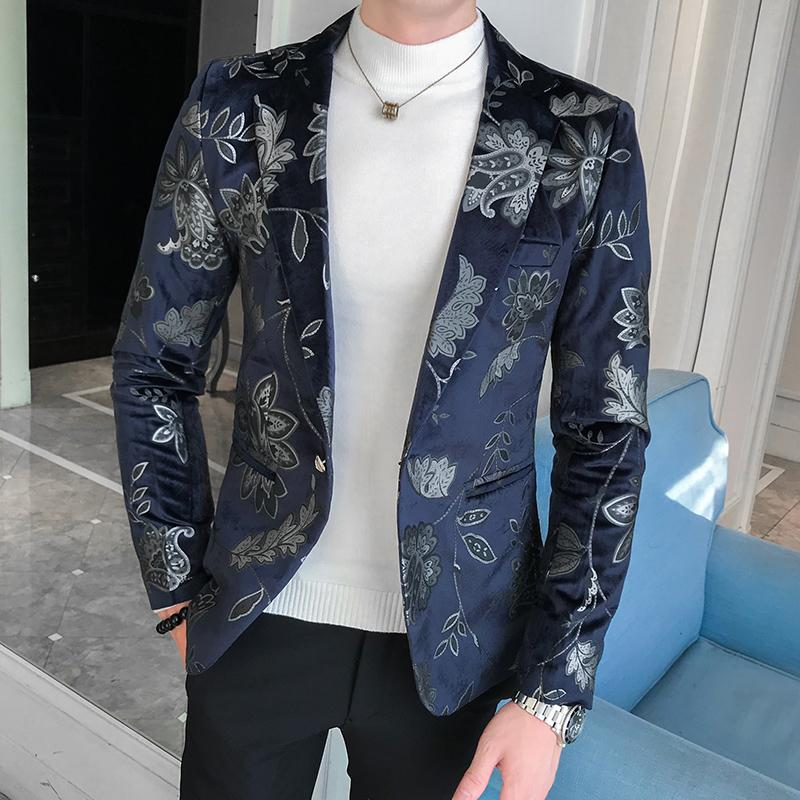 Jacket Blazer Floral Casual Men Blazers Wedding Suits for Men Bronzed Velvet Suit New in Blazers from Men 39 s Clothing