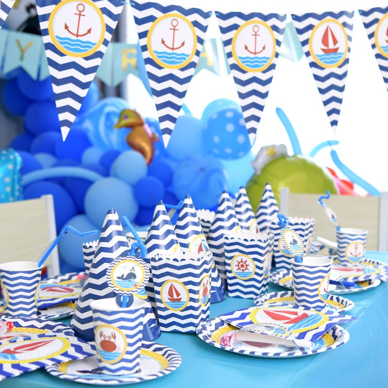 Baby Party Supplies Set 6 People Sea World Theme Birthday Party Supplies Set Baby Gift Child Kids Girls Party Supplies Set