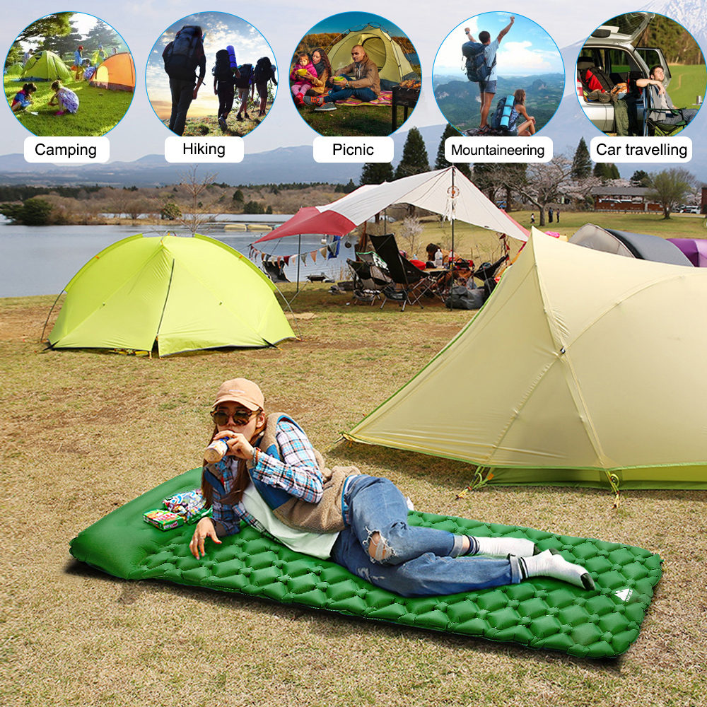 Outdoor inflatable cushion camping nap picnic picnic bed mattress Outdoor Inflatable Sleeping Mat Waterproof Foldable