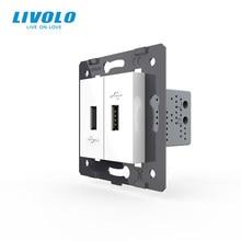 Livolo clé de fonction en matériaux plastiques | Pièces Standard EU bricolage, couleur blanche, 2 gangs pour prise USB, 3 couleurs (4 couleurs)