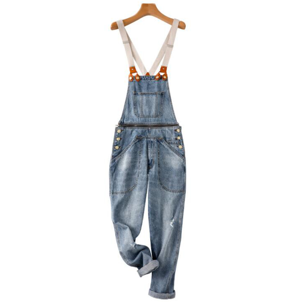 2019 Men Hole Jeans Mid Wait Ripped Overalls Man Casual Denim Bib Pants Loose Hip Hop Male Denim Trousers Fashion Jumpsuits D40