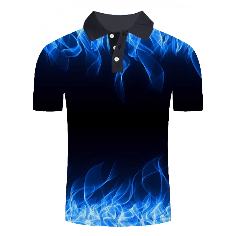 Blue Flame 3D Men   Polo   Shirt Men Business Casual   Polo   Shirt Short Sleeve High Quality Unisex Colorful Flame Printed   Polo   Shirts