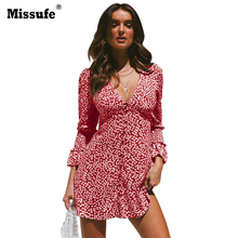 Missufe Dress Womens Floral Leaf Printed Deep V-neck Long Sleeve Ladies Autumn Beach Casual Mini Tea Women 2019