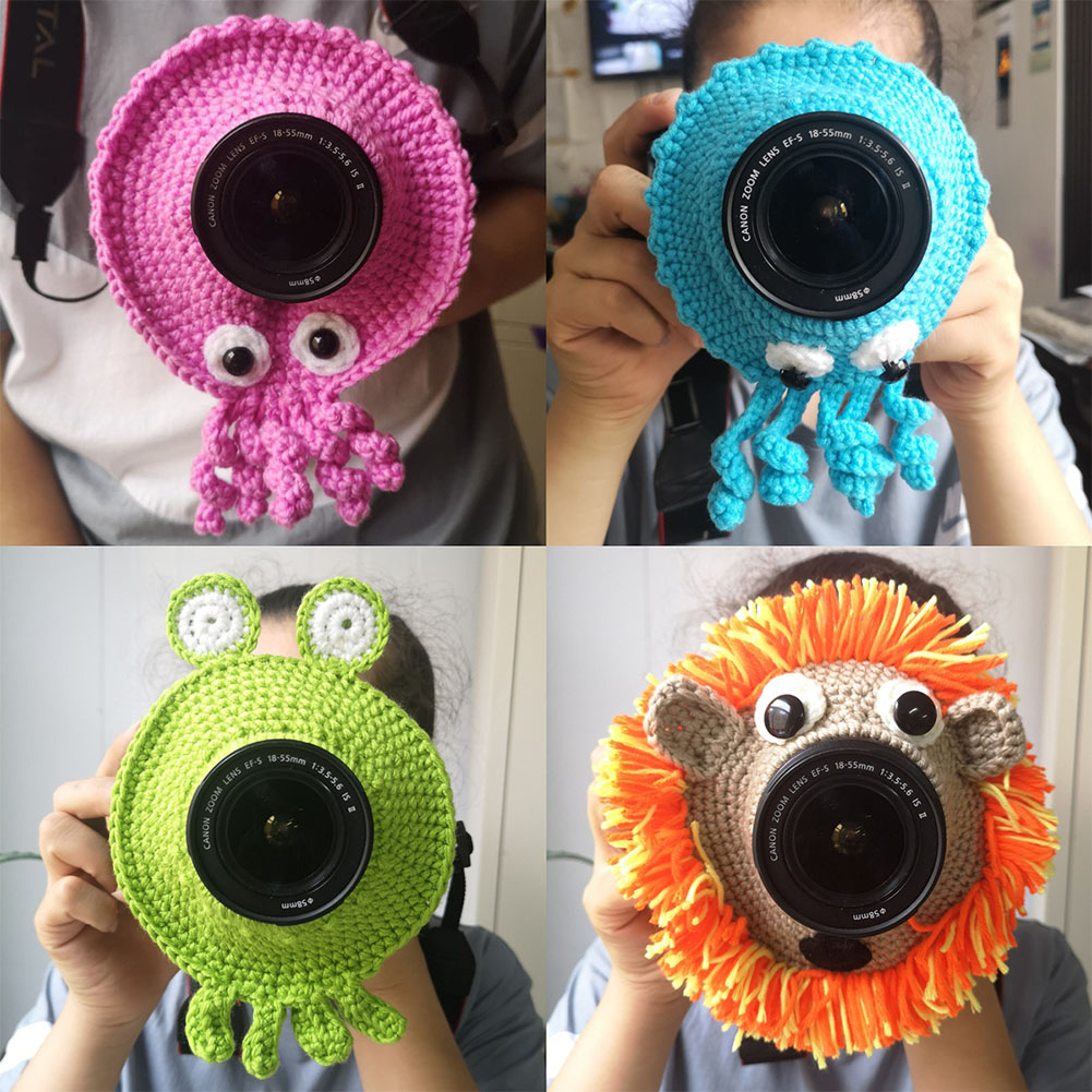 Kid Shutter Hugger Camera Buddies Knitted Cute Animal Handmade Teaser Toy Lens Accessory Child Photography Props Posing Pet