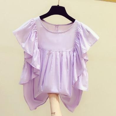 2020 Summer Shirt Woman New Korean Fashion Temperament Sly Sleeve Ruffles Round Neck Blouse Blusas Mujer Nancylim