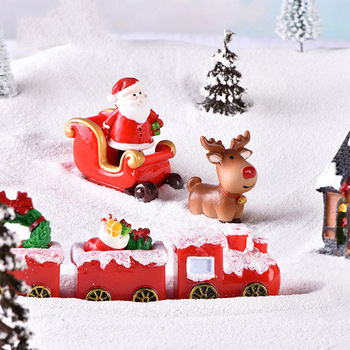 1PC Christmas Miniature Santa Claus Sled Reindeer Figurines Gift Fairy Garden Decor Snow Landscape Model Train Terrarium image