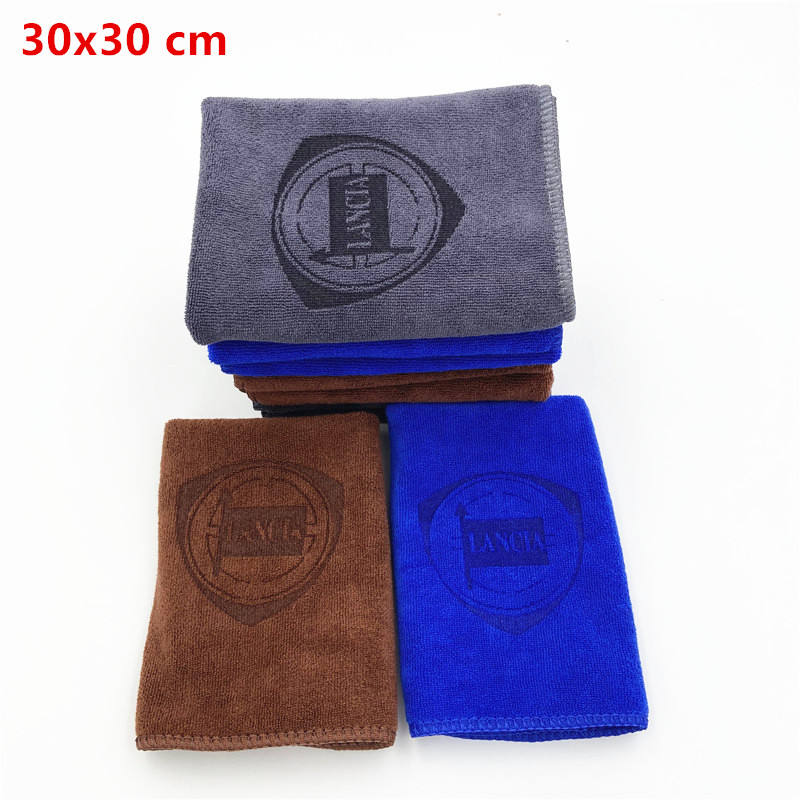 30*30 cm carro adesivo lavagem microfibra toalha de limpeza do carro para lancia