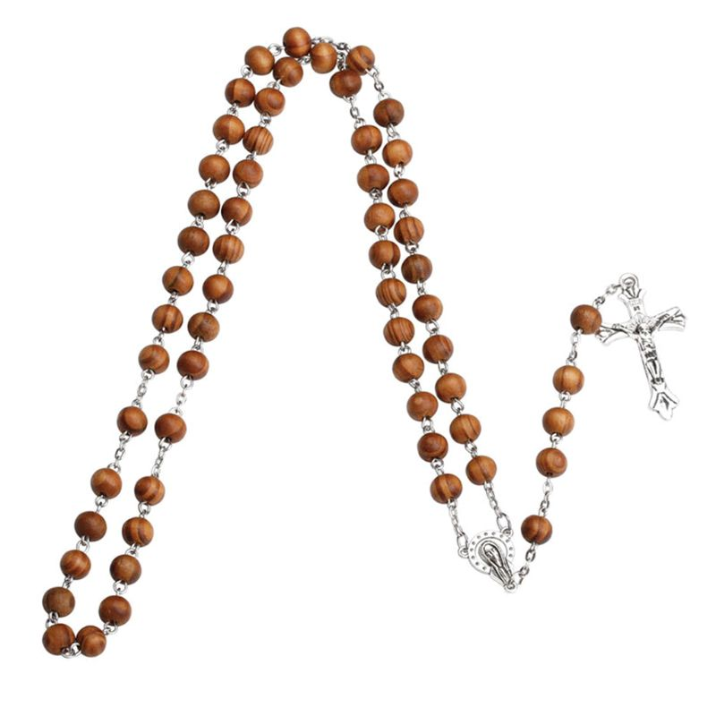 Handmade Round Bead Catholic Rosary Cross Religious Wood Beads Necklace Gift