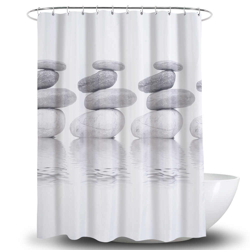 حصاة ثلاثية الأبعاد طباعة ستارة الحمام مقاوم للماء الحقيقي رشاقته طلاء عملية دش الستار أقمشة عالية الجودة زينة الحمام