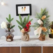 25cm Christmas Tree Ornament Desktop Window Simulation Decorative Potted Festival Party Supplies
