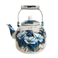 5L Large Capacity Enamel Kettle Tea Set Wine Set Coffee Pot Induction Cooker Household Blue Flowers Cold Kettle Milk Pot