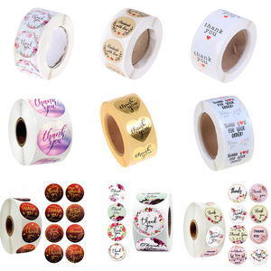 500pcs/roll 44 Styles Flowers Heart THANK YOU Adhesive Stickers Scrapbooking Stationery Cake Biscuit Baking Sealing Labels Gift
