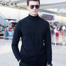 UCAK Brand Sweater Men Colthing Classic Pure Merino Wool Pullover Pull Homme Autumn Winter Turtleneck Cashmere Men Clothes U3004
