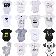 Newborn Baby Bodysuit Summer Clothes Boys Girls Jumpsuit Letter Short Sleeve Cotton Clothes Infant Outfits 0-18M for Kids Gifts newborn star wars baby boy girl jumpsuit bodysuit cartoon short sleeve cotton clothes outfits 0 18m