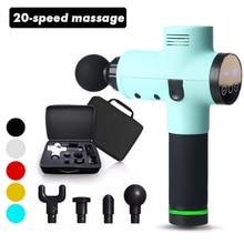 Arma de massagem muscular 20 velocidades percussão vibração terapia profunda tecido massageador relaxar alívio da dor fáscia massagem máquina 4 cabeças