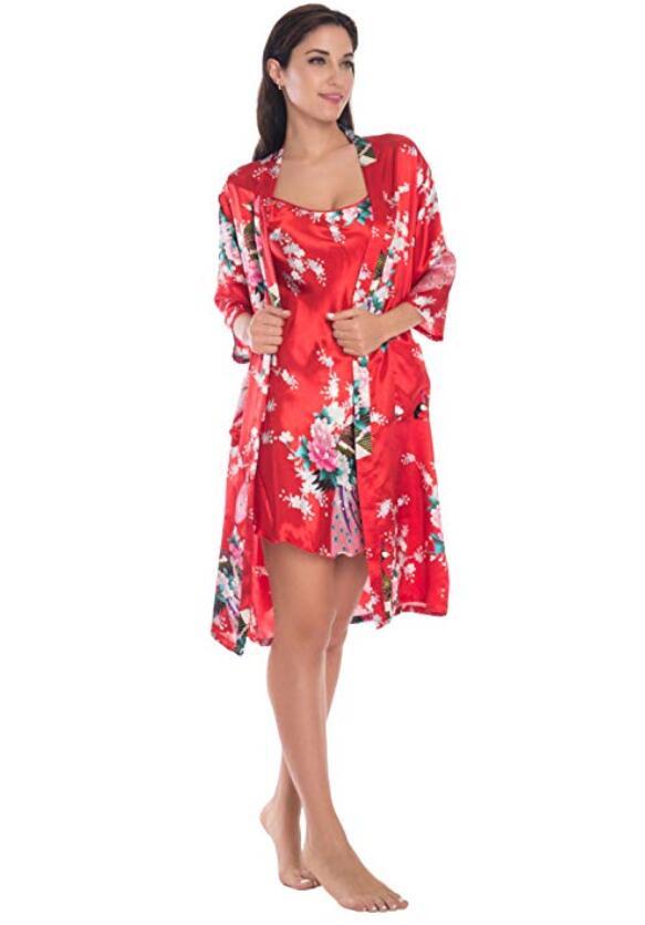 Fashion Women's Summer Mini Kimono Robe Lady Rayon Bath Gown Yukata Nightgown Sleepwear Sleepshirts Pijama Mujer Size M-XL